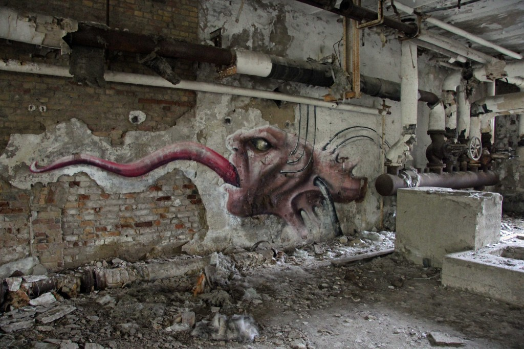 The Tongue: Street Art by Unknown Artist at Papierfabrik Wolfswinkel near Berlin