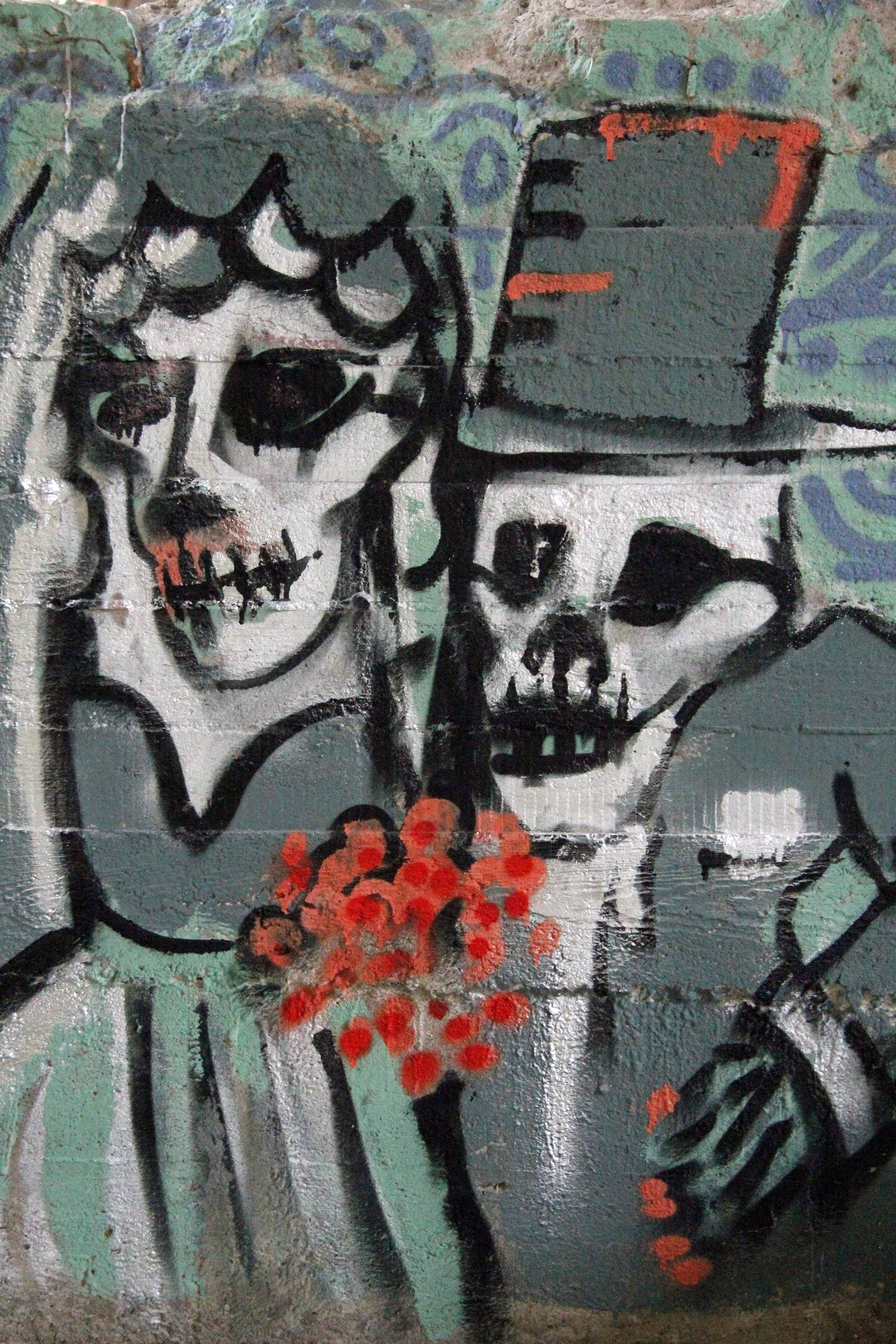 Till Death Do Us Part: Street Art by Unknown Artist at Papierfabrik Wolfswinkel near Berlin