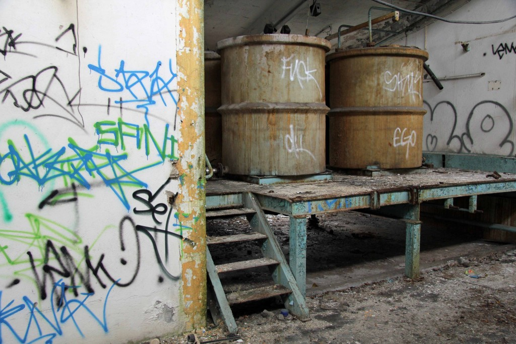 Vats at Papierfabrik Wolfswinkel, an abandoned paper mill near Berlin