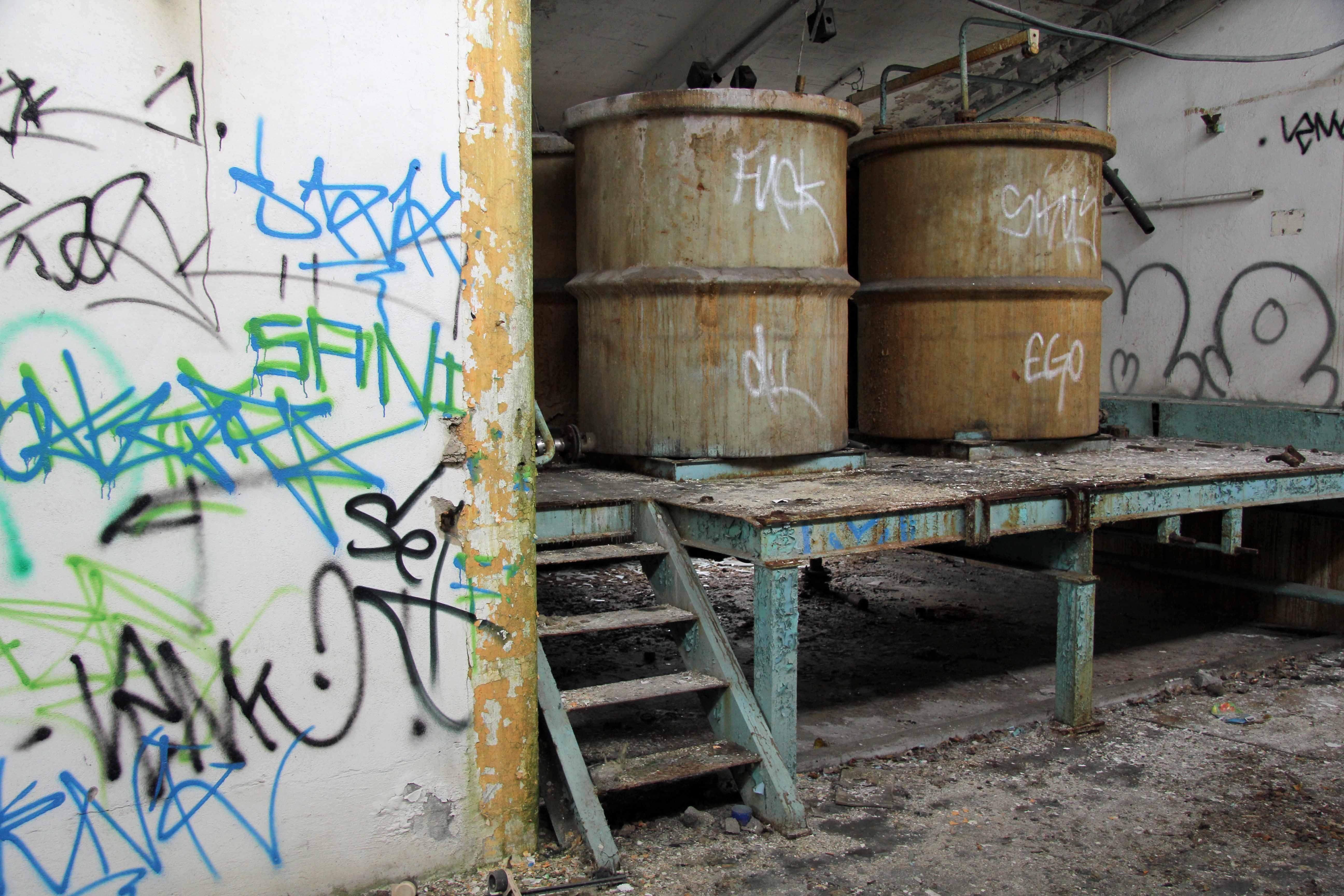 Vats at Papierfabrik Wolfswinkel, an abandoned paper mill near Berlin