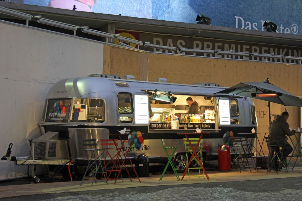 The Burger de Ville 'Airstream' food caravan in Berlin - outside the Bikini Berlin development