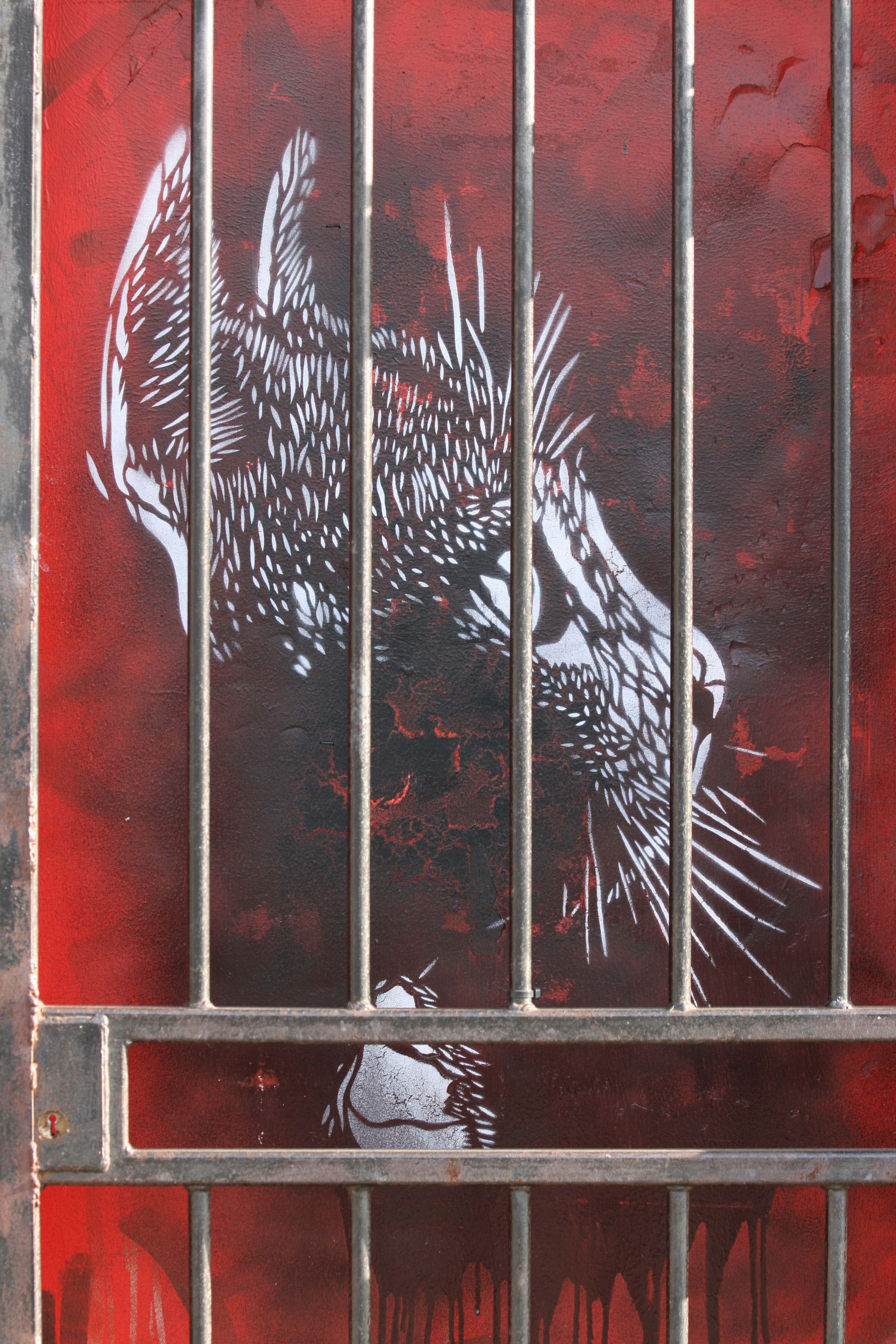 Cat Behind Bars - Street Art by C215 in London