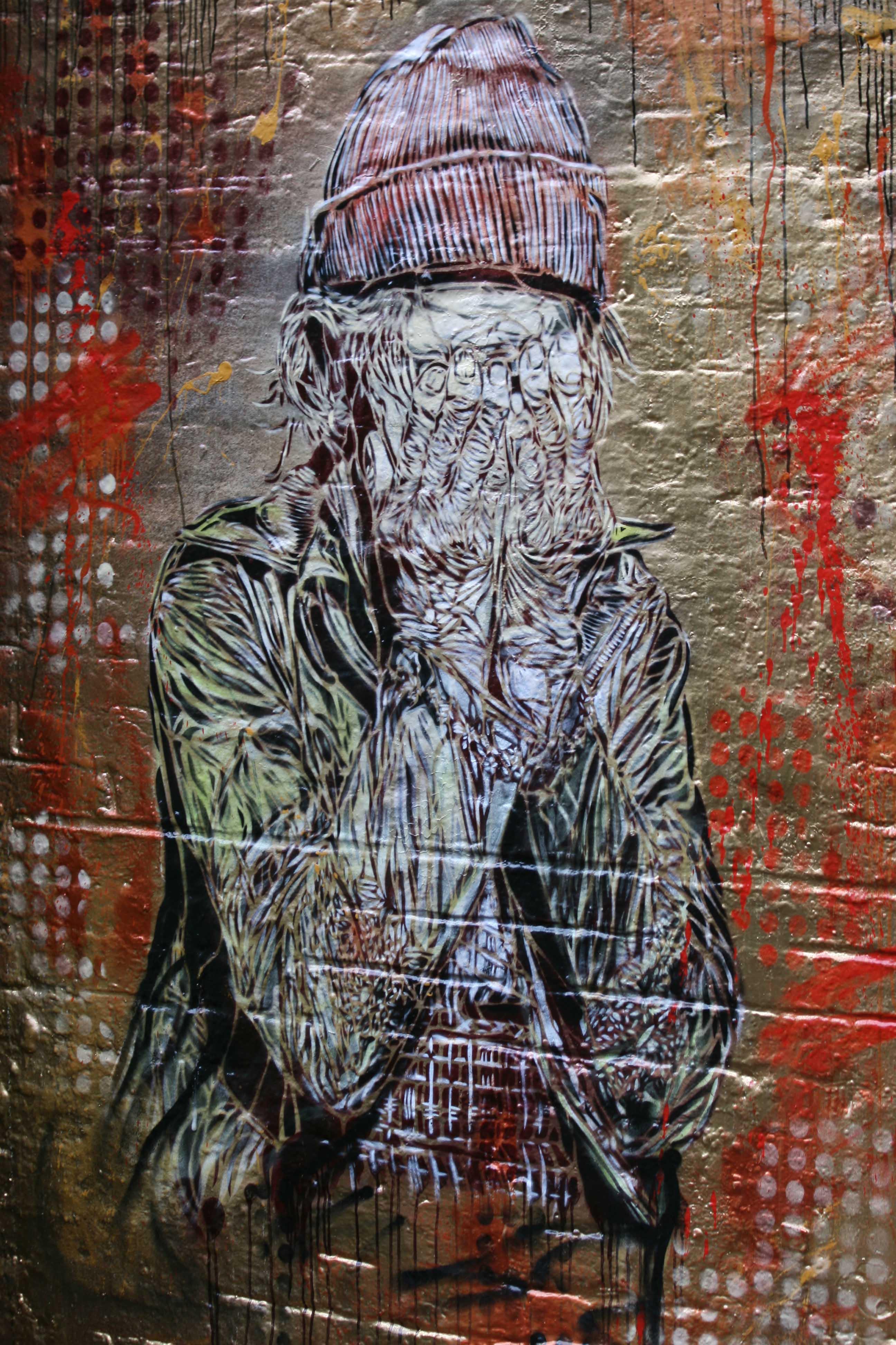 Head in Hands - Street Art by C215 in London