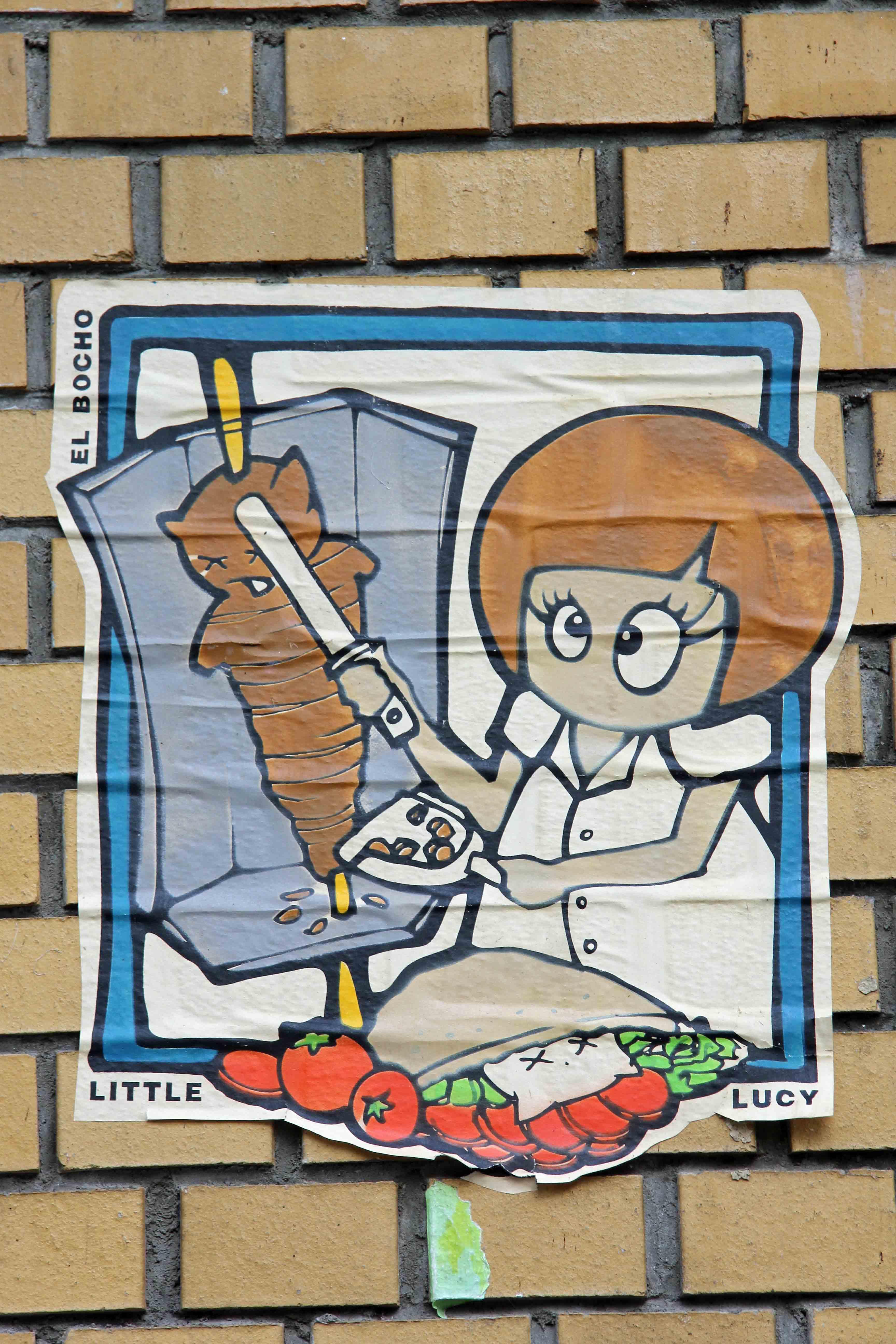 Little Lucy Kitti Kebap - Street Art by El Bocho in Berlin