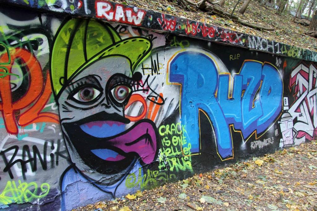 Graffiti at the legal spraying area in a tunnel at Natur-Park Schöneberger Südgelände in Berlin