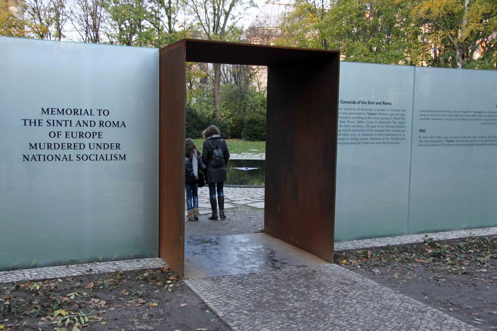 The entrance to the Memorial to the Sinti and Roma of Europe Murdered Under National Socialism in Berlin
