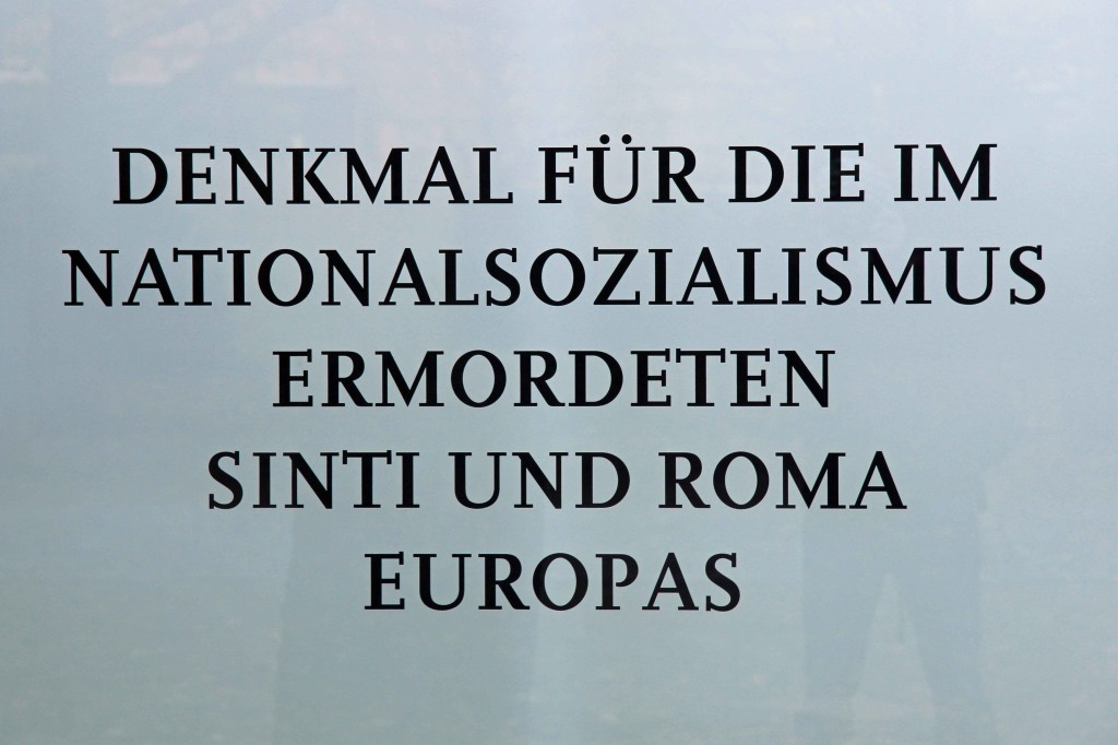 The name of the Memorial to the Sinti and Roma of Europe Murdered Under National Socialism in Berlin