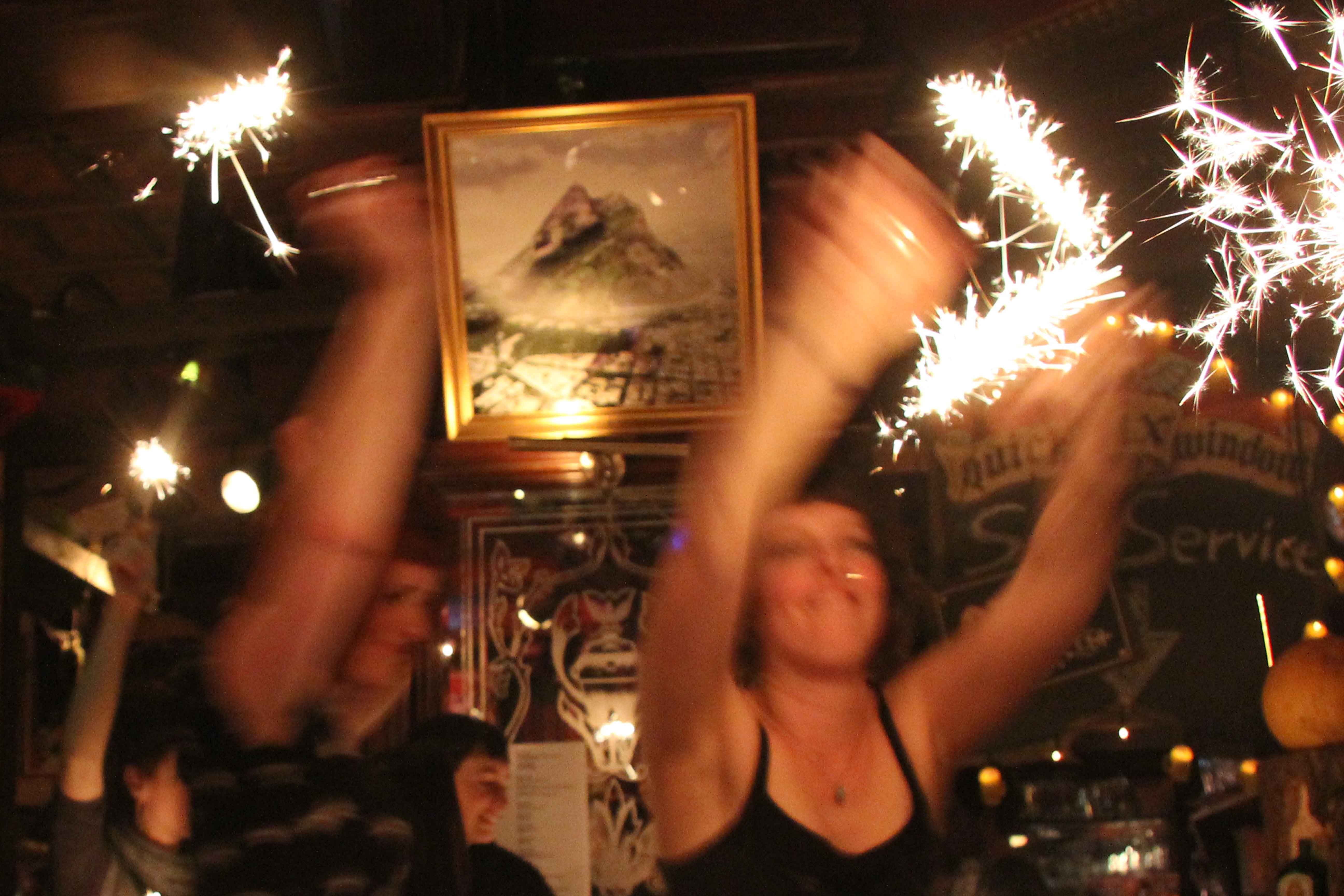 Sparkler Dance at Rock n Roll Bingo at White Trash Fast Food in Berlin