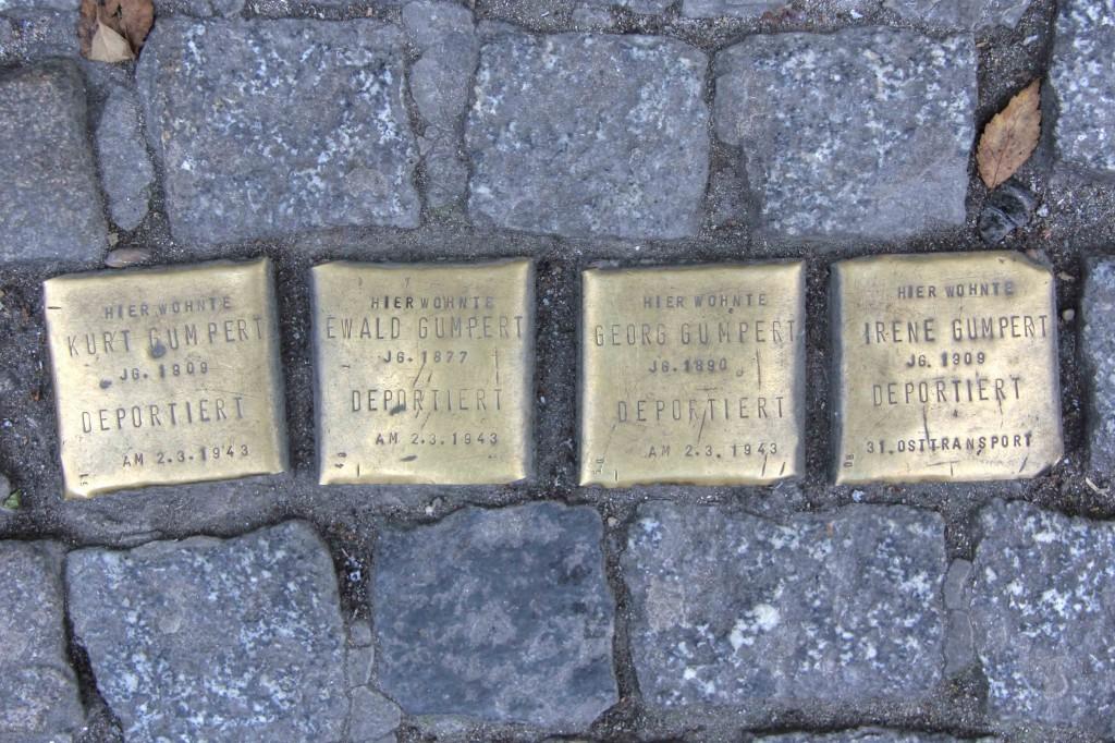 Stolpersteine Berlin 150: In memory of Kurt Gumpert, Ewald Gumpert, Georg Gumpert and Irene Gumpert (Oranienstrasse 187)
