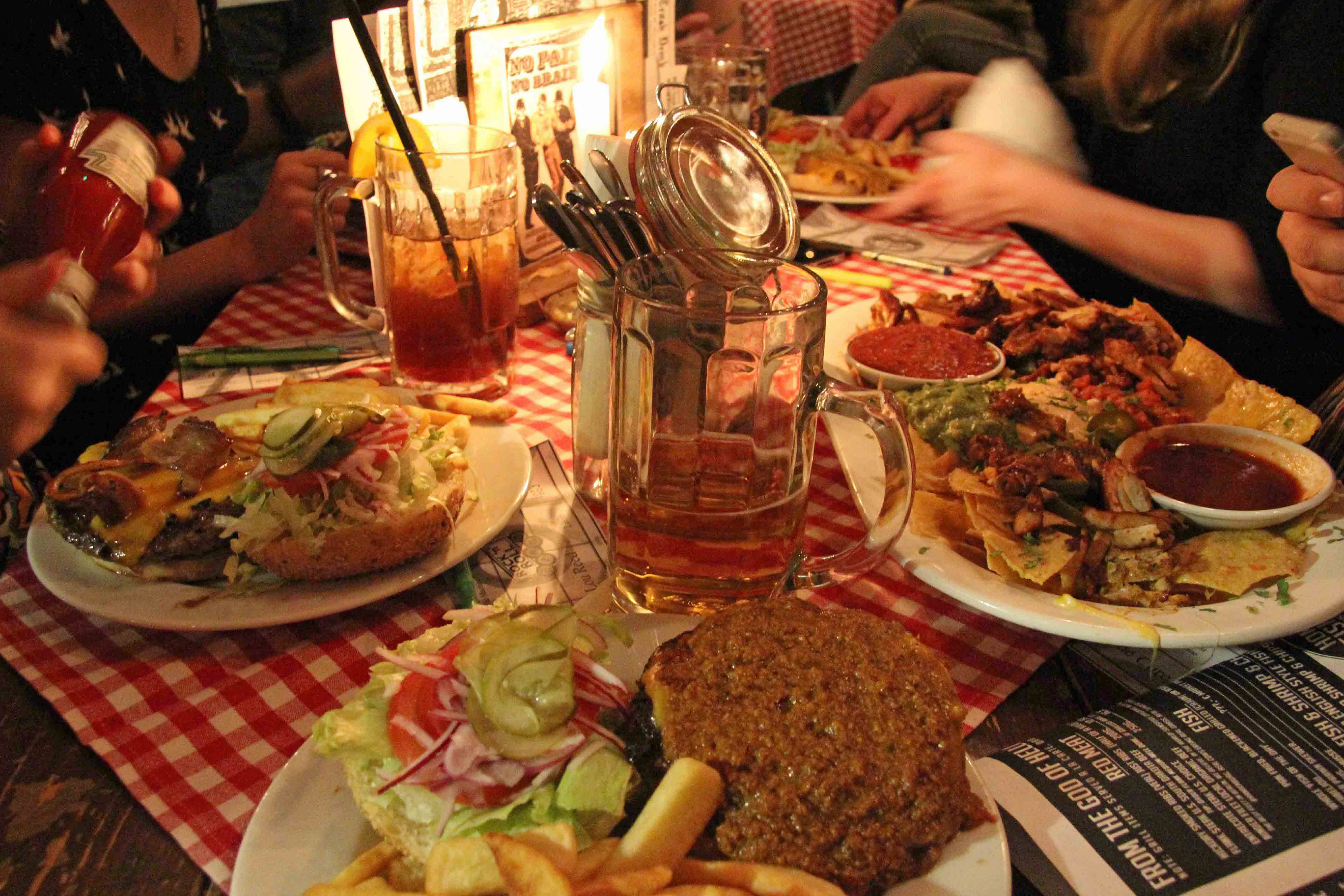 A table of food at White Trash Fast Food in Berlin