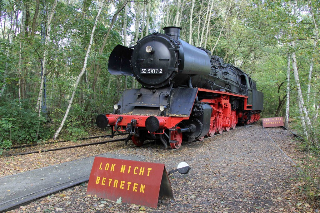 An old steam train at Natur-Park Schöneberger Südgelände in Berlin