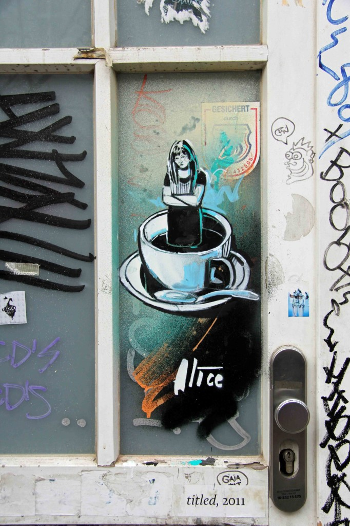 Girl in a Coffee Cup - Street Art by AliCé in Berlin