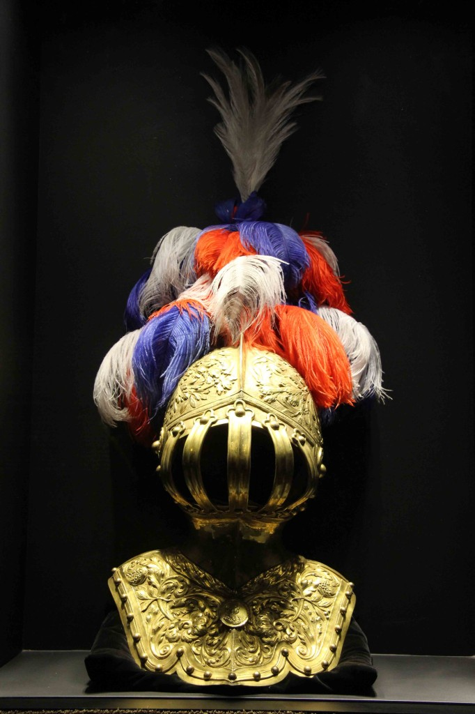 An armoured helmet and plume of feathers at Schloss Charlottenburg in Berlin
