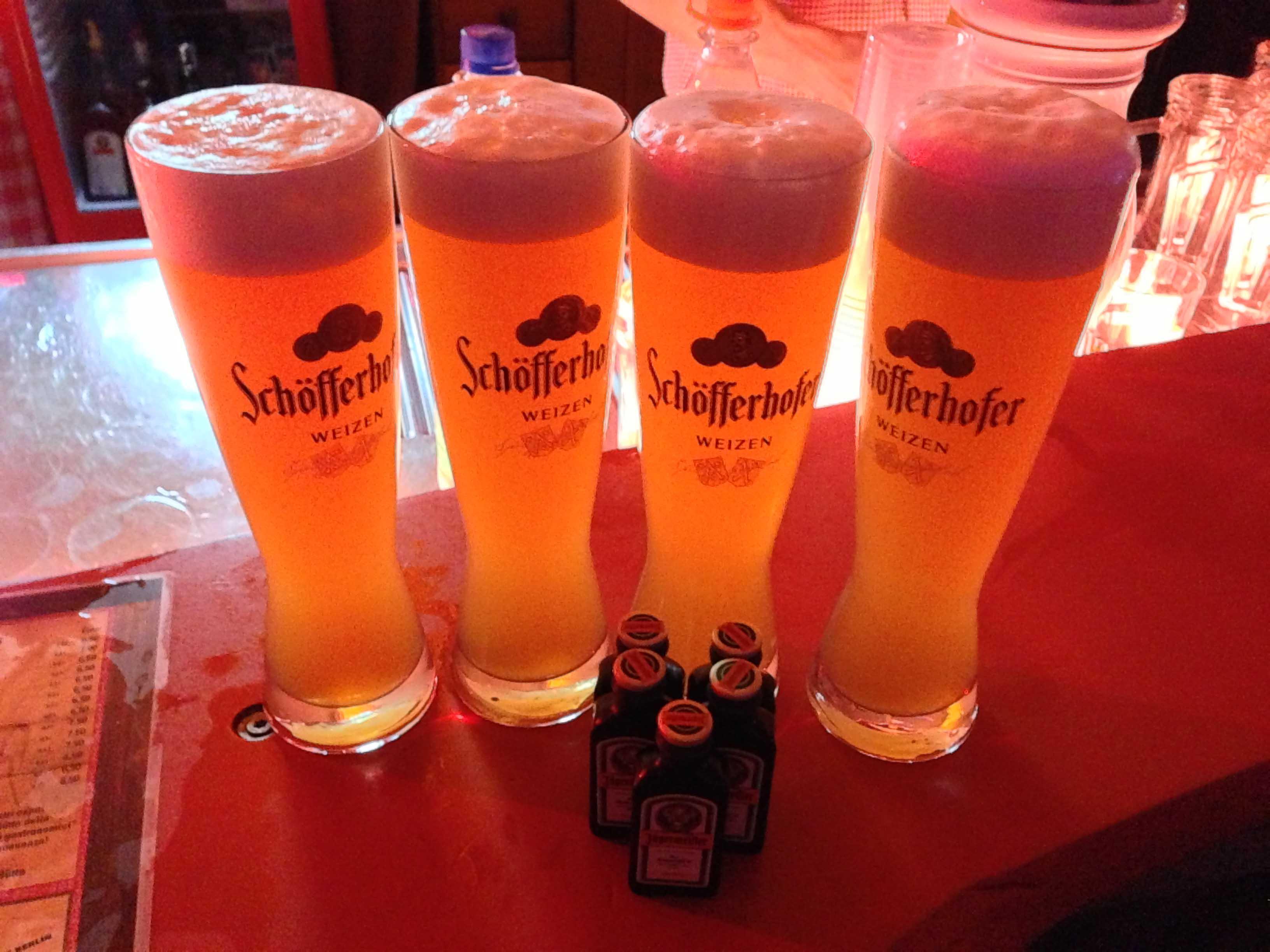 Beer and Jägermeister at Schmankerl-Hüttn at Winterwelt am Potsdamer Platz in Berlin