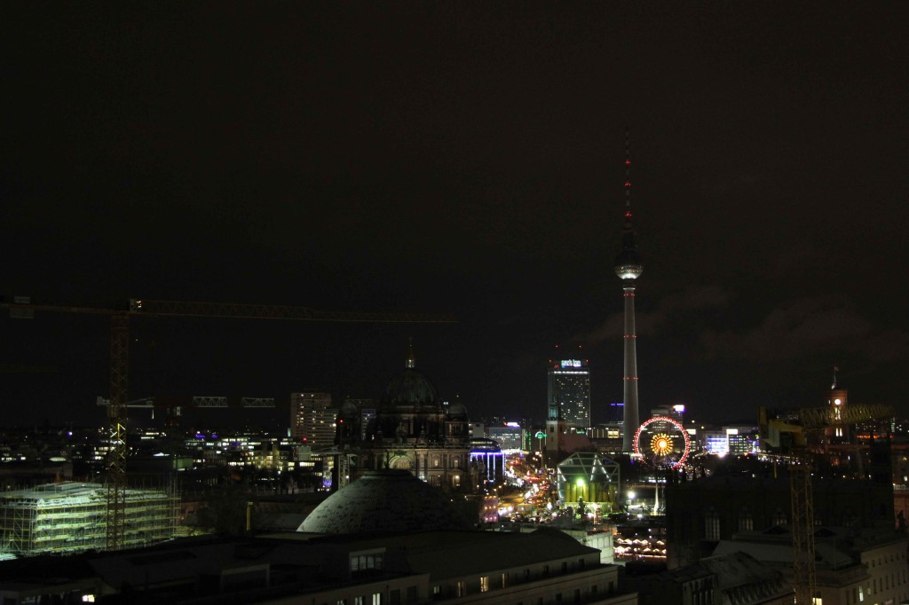 The Berlin skyline at night From Der Französischer Dom (French Cathedral) on Gendarmenmarkt