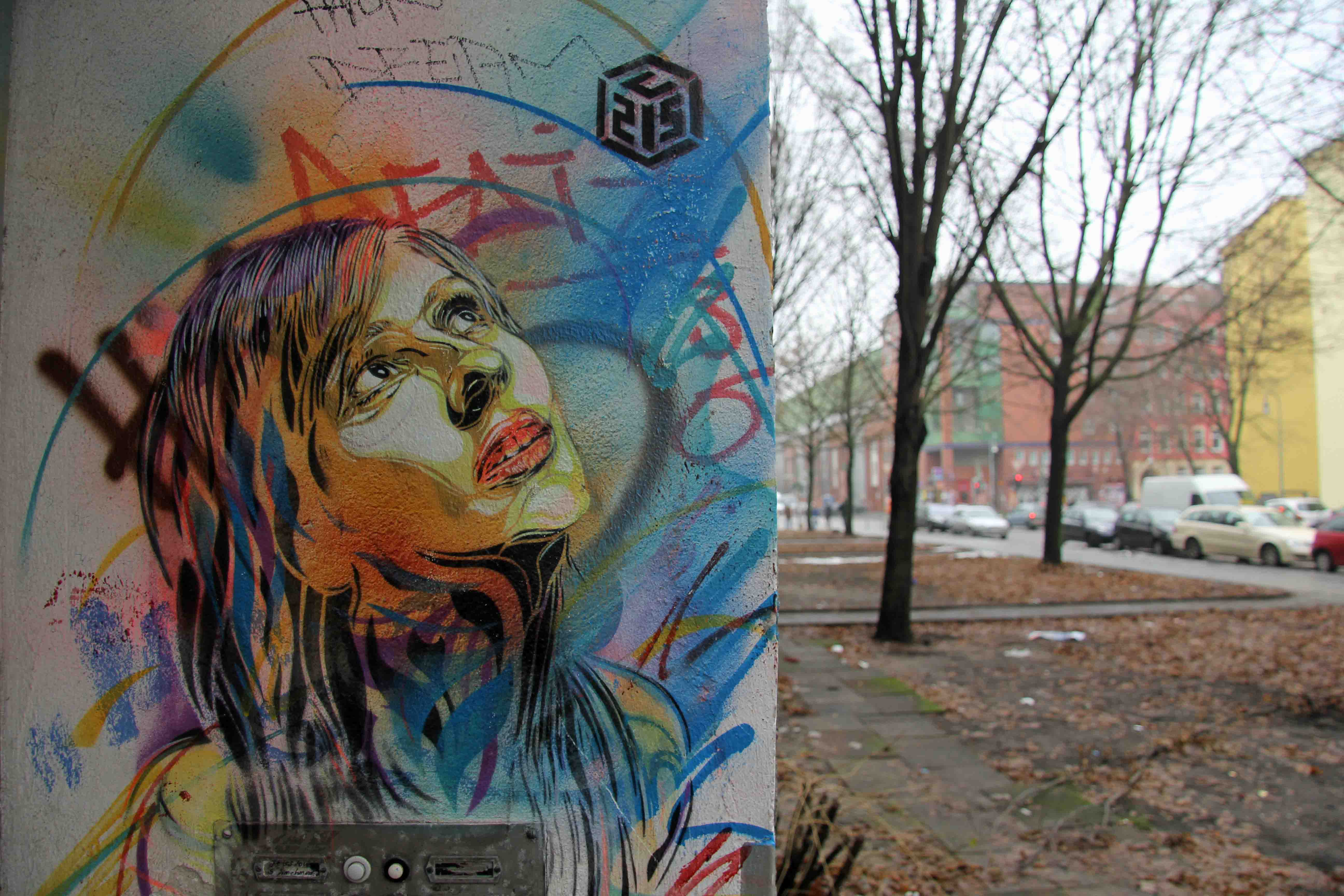 Looking Up - Street Art by C215 in Berlin