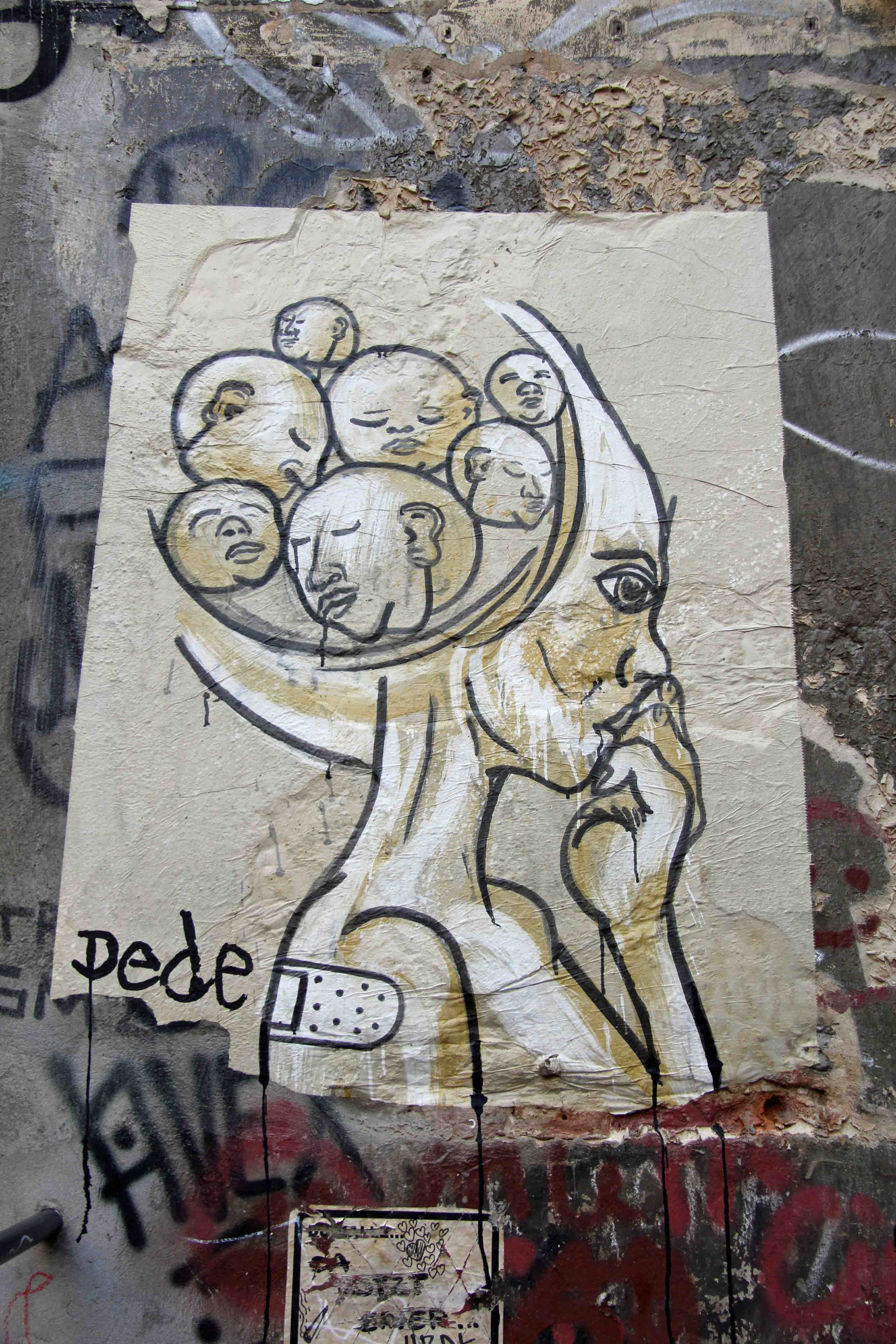 Miss (Head of Heads) (Caffeine) - Street Art by Dede in Berlin