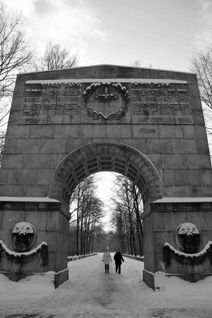 The entrance to a snow covered Soviet War Memorial in Treptower Park in Berlin