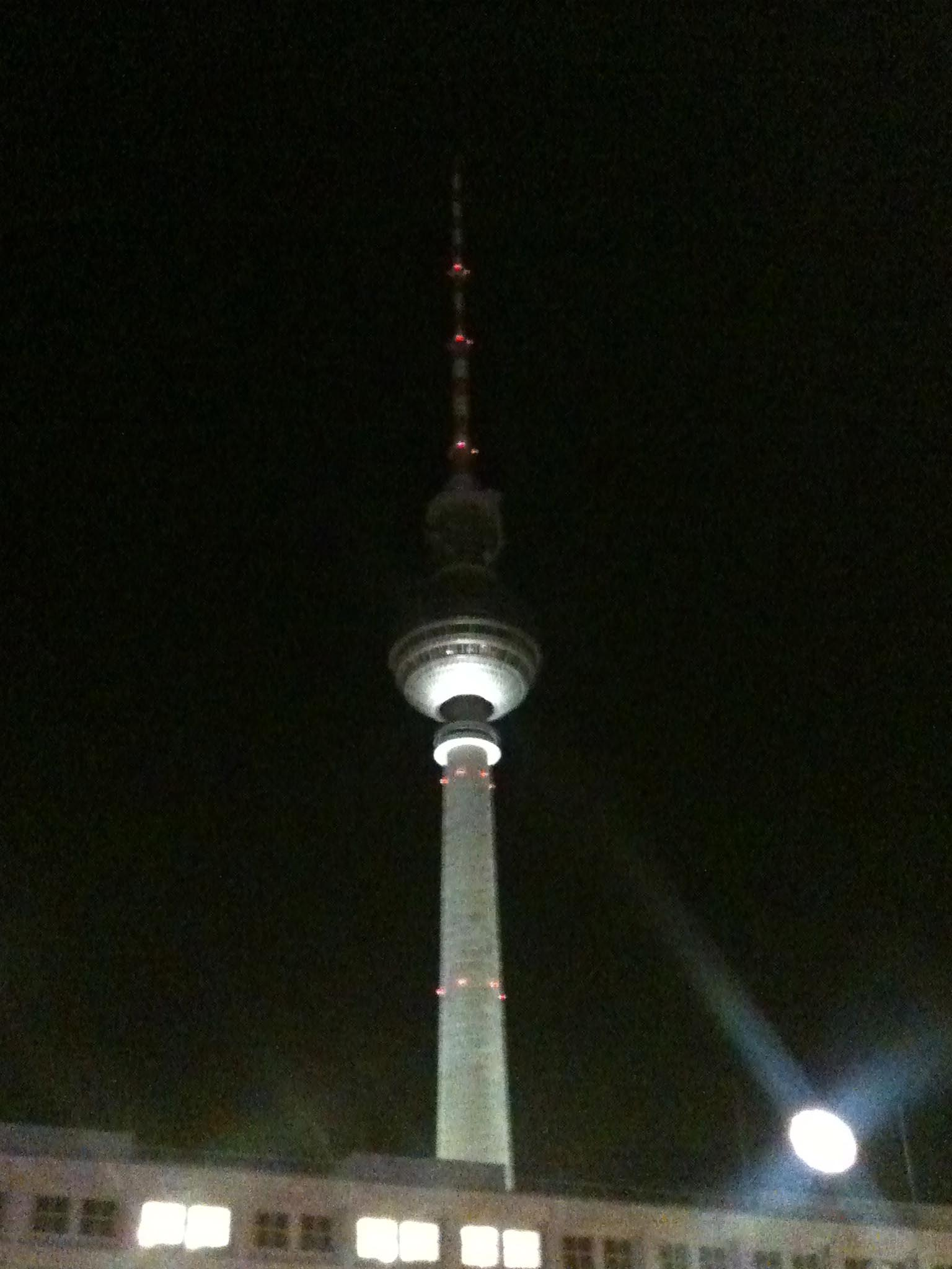 The Berlin Fernsehturm (TV Tower) at Night from Alexanderplatz