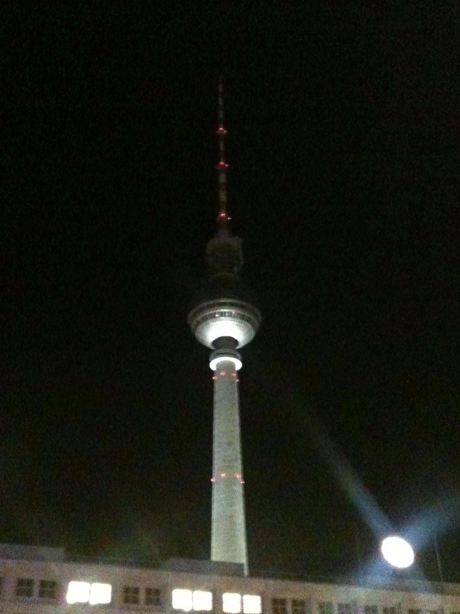 The Berlin Fernsehturm (TV Tower) at Night from Alexanderplatz