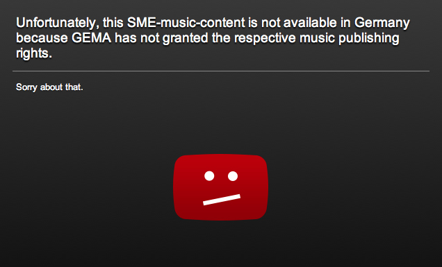 GEMA Blocked Video message from a YouTube video
