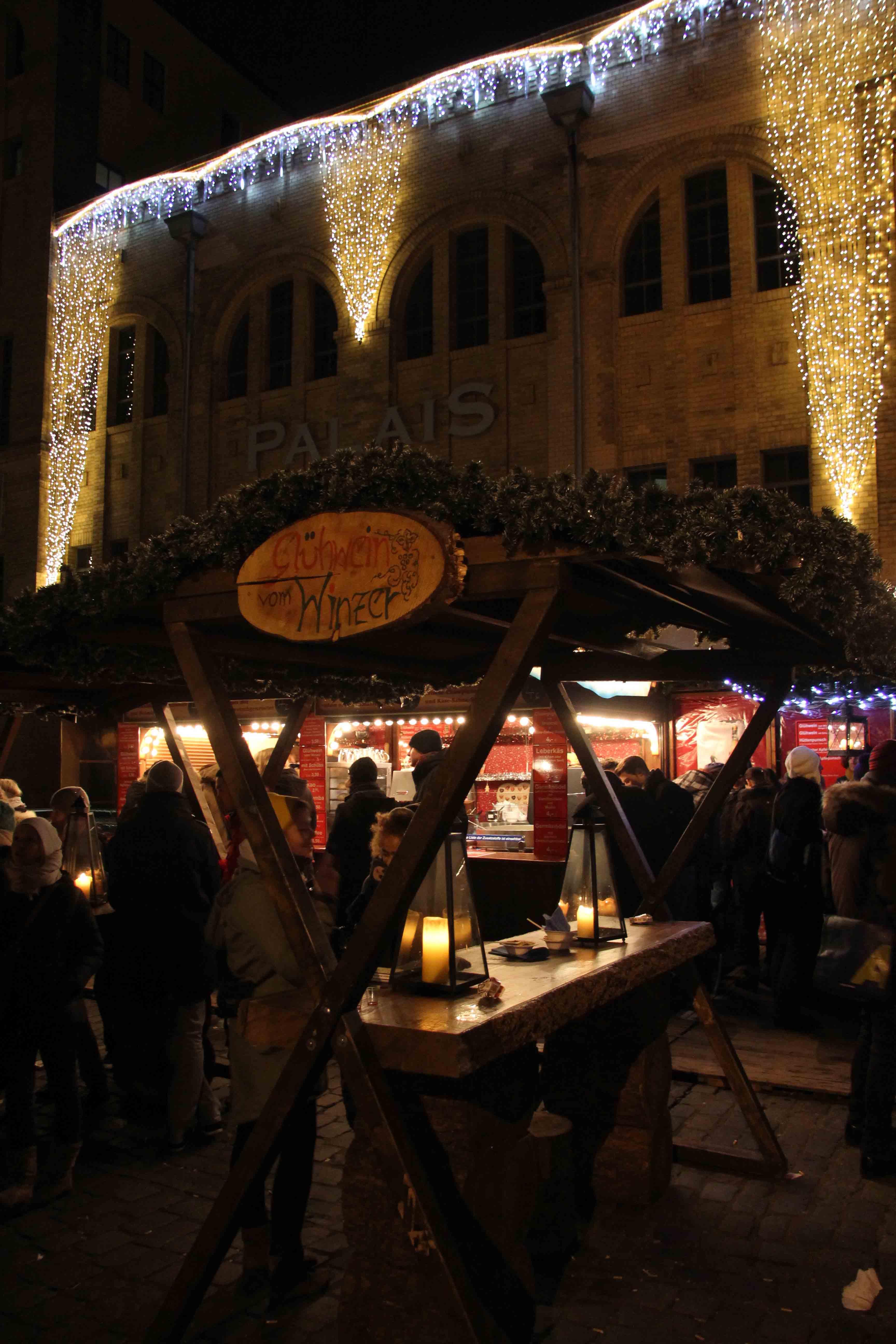 A Glühwein stand at Lucia Weihnachtsmarkt in der Kulturbrauerei - a Christmas Market in Berlin