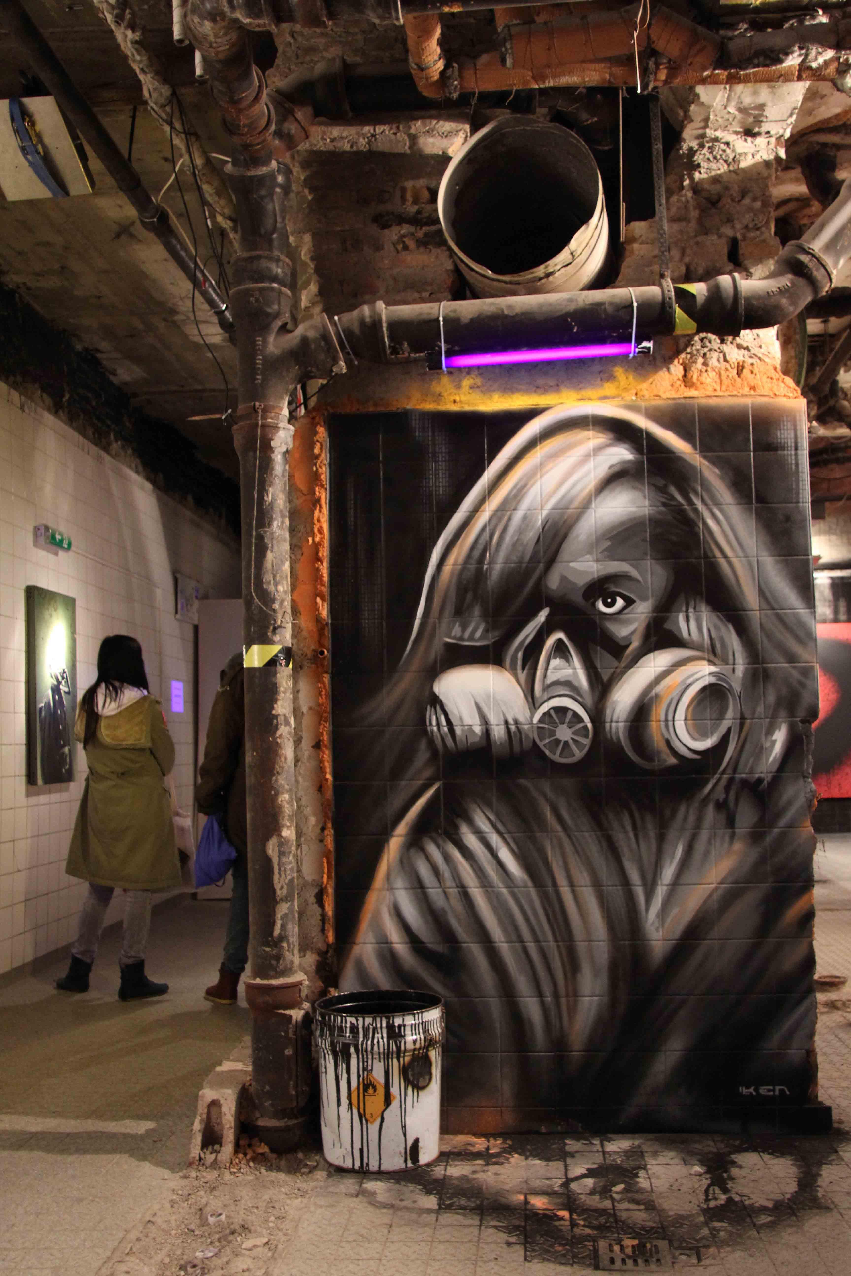 Behind The Mask - Art by KEN (aka Plotterroboter) at Stattmarkt at Stattbad Wedding in Berlin