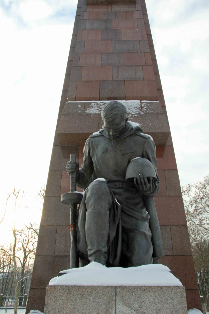 Kneeling Soldier Statue at the Soviet War Memorial in Treptower Park in Berlin