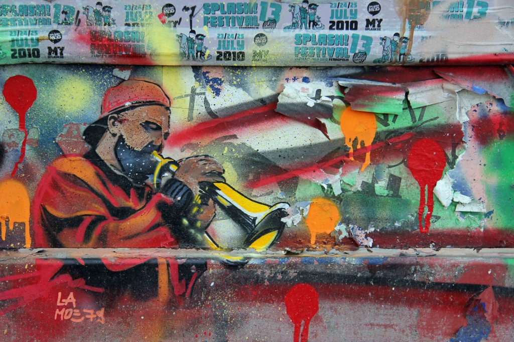 Get Down With The Trumpets - Street Art by Moe in Berlin