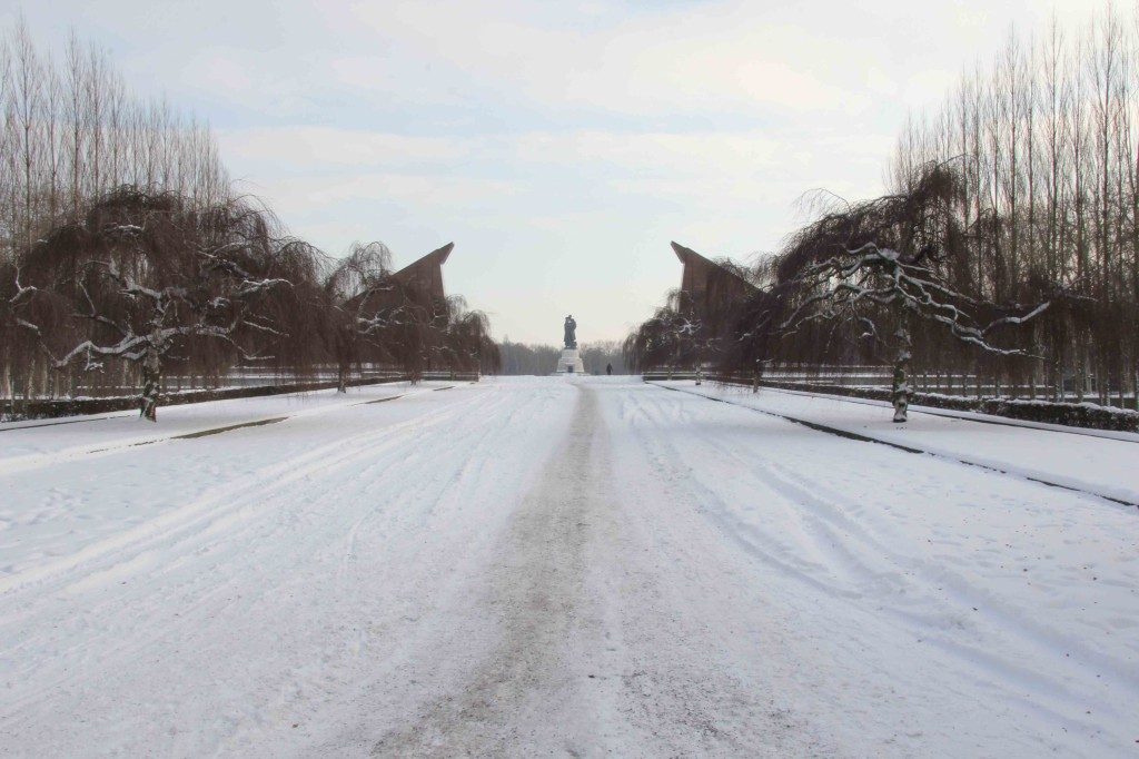 A snow covered Soviet War Memorial in Treptower Park in Berlin