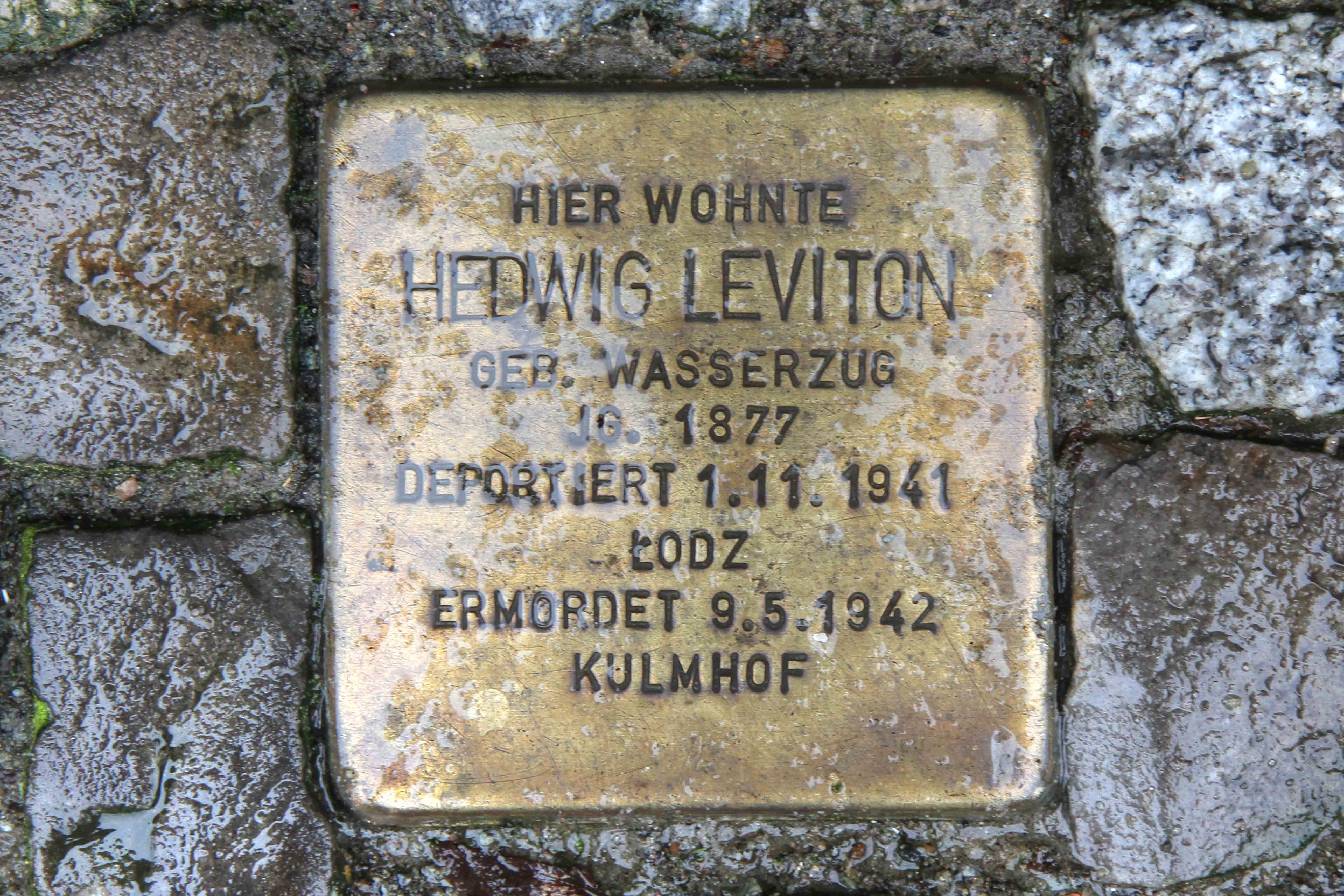 Stolpersteine Berlin 160: In memory of Hedwig Leviton (Niebuhrstrasse 65)