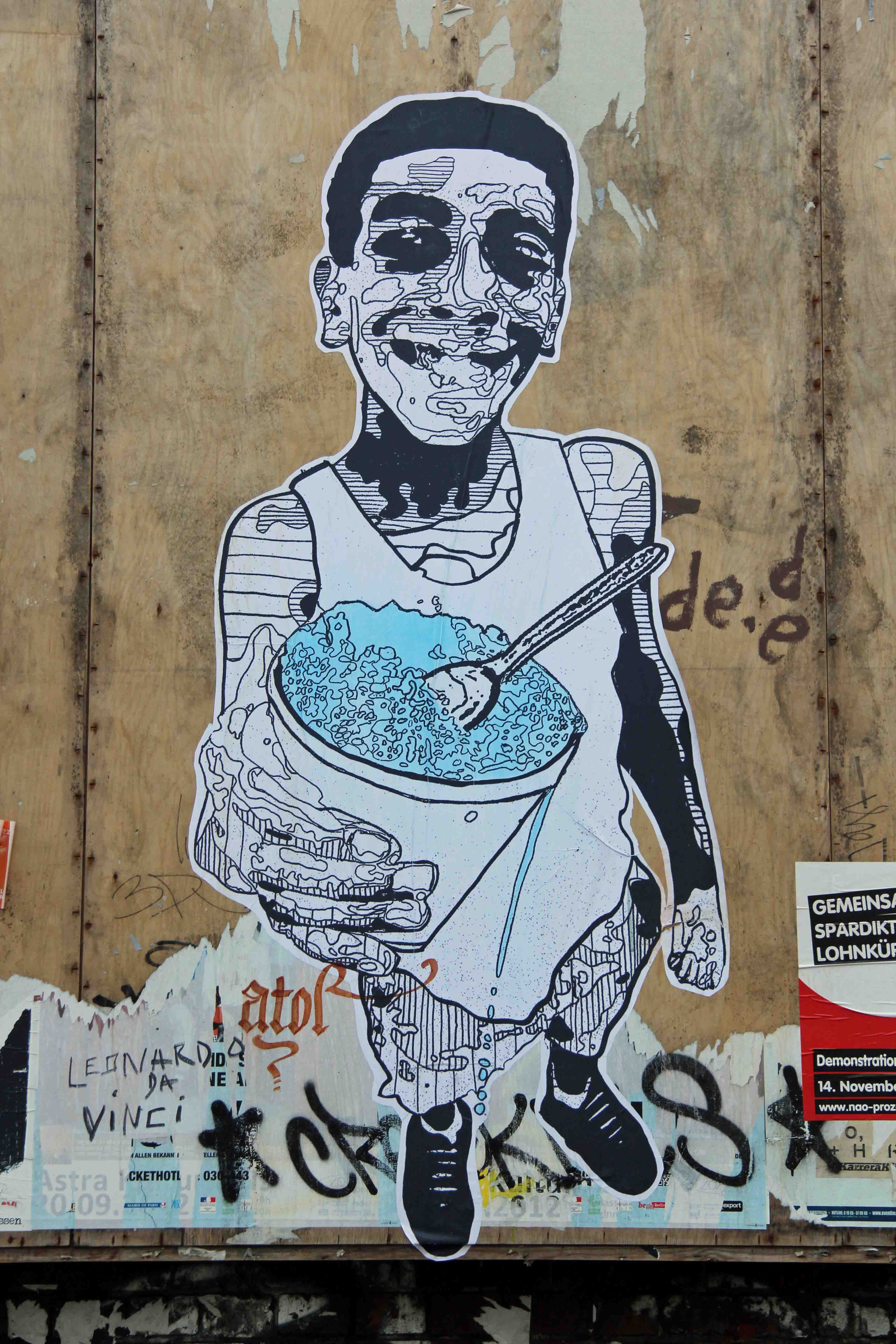 Blue Food - Street Art by NETHER in Berlin