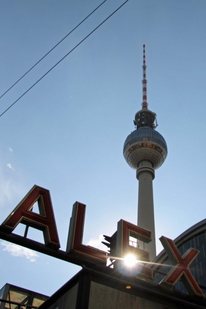 Fernsehturm and the sign for Alexanderplatz Station