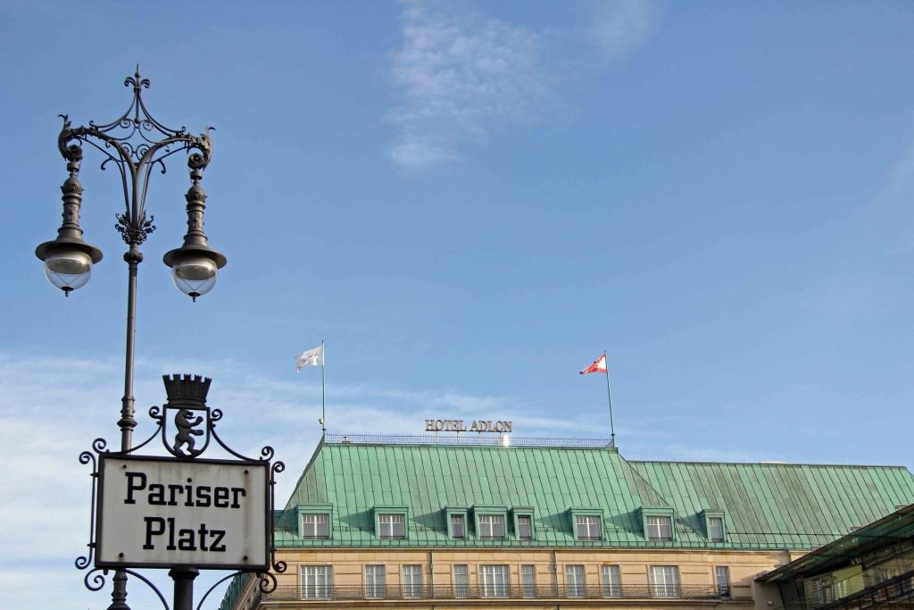 Hotel Adlon, lamp and sign on Pariser Platz, Berlin