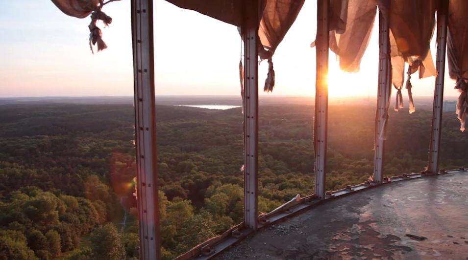 Into The Sun From Teufelsberg (screenshot from Berlin by Giulio Tonincelli on Vimeo)