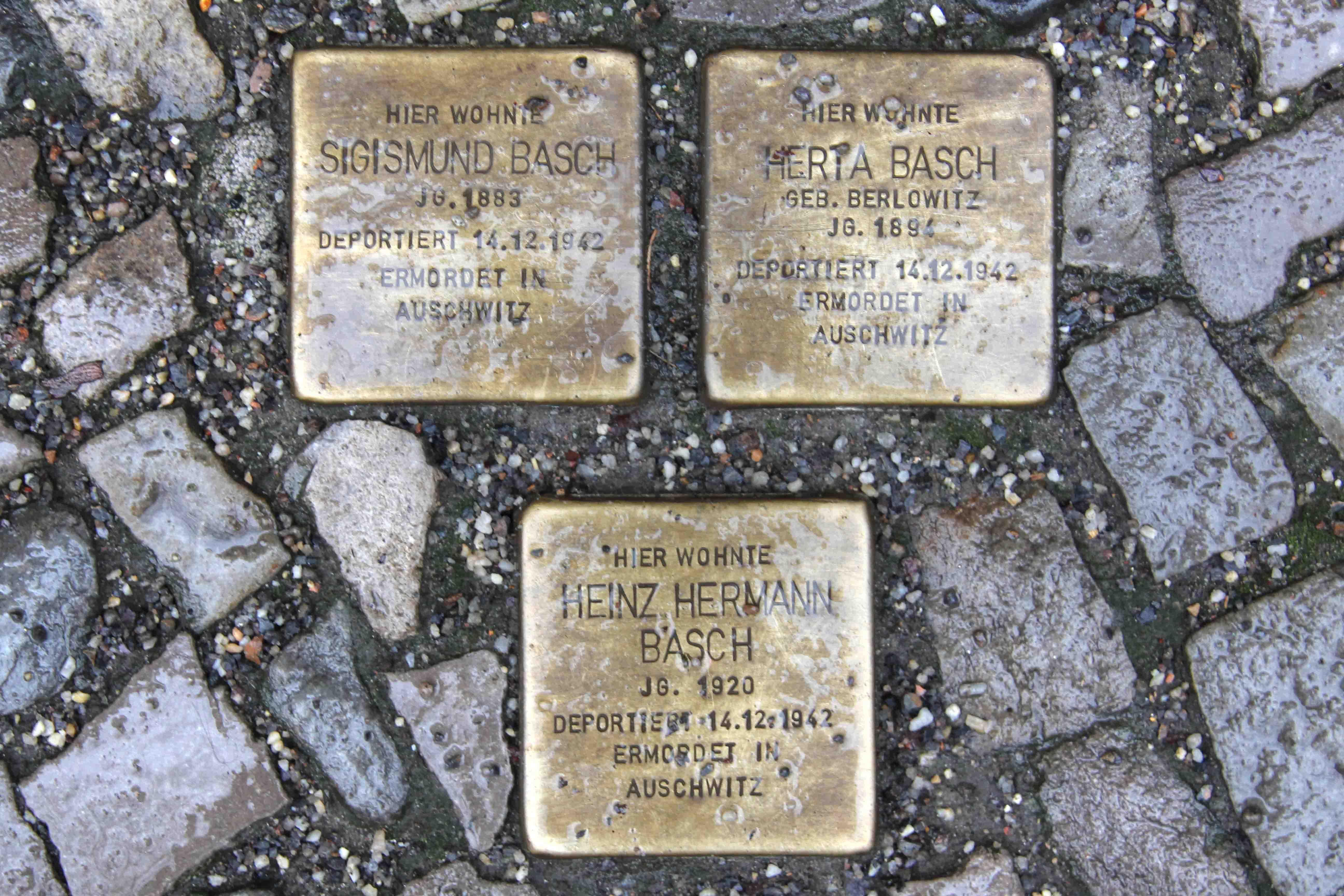 Stolpersteine Berlin 179: In memory of Sigismund Basch, Herta Basch and Heinz Hermann Basch (Keithstrasse 14)