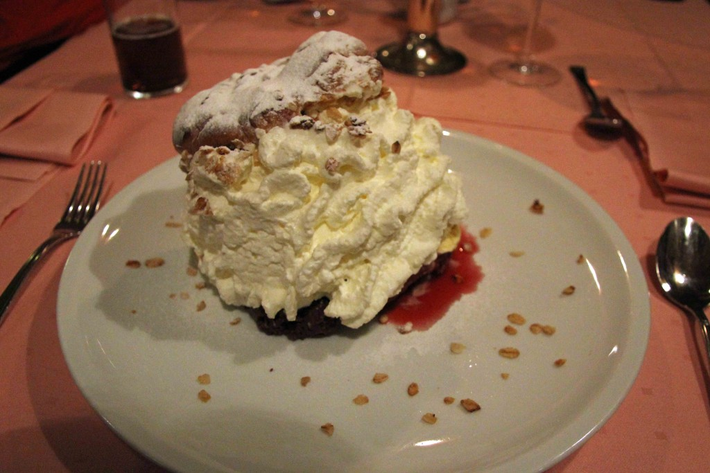 Windbeutel (cream-puff served with ice cream and fruits) at Marjellchens in Berlin