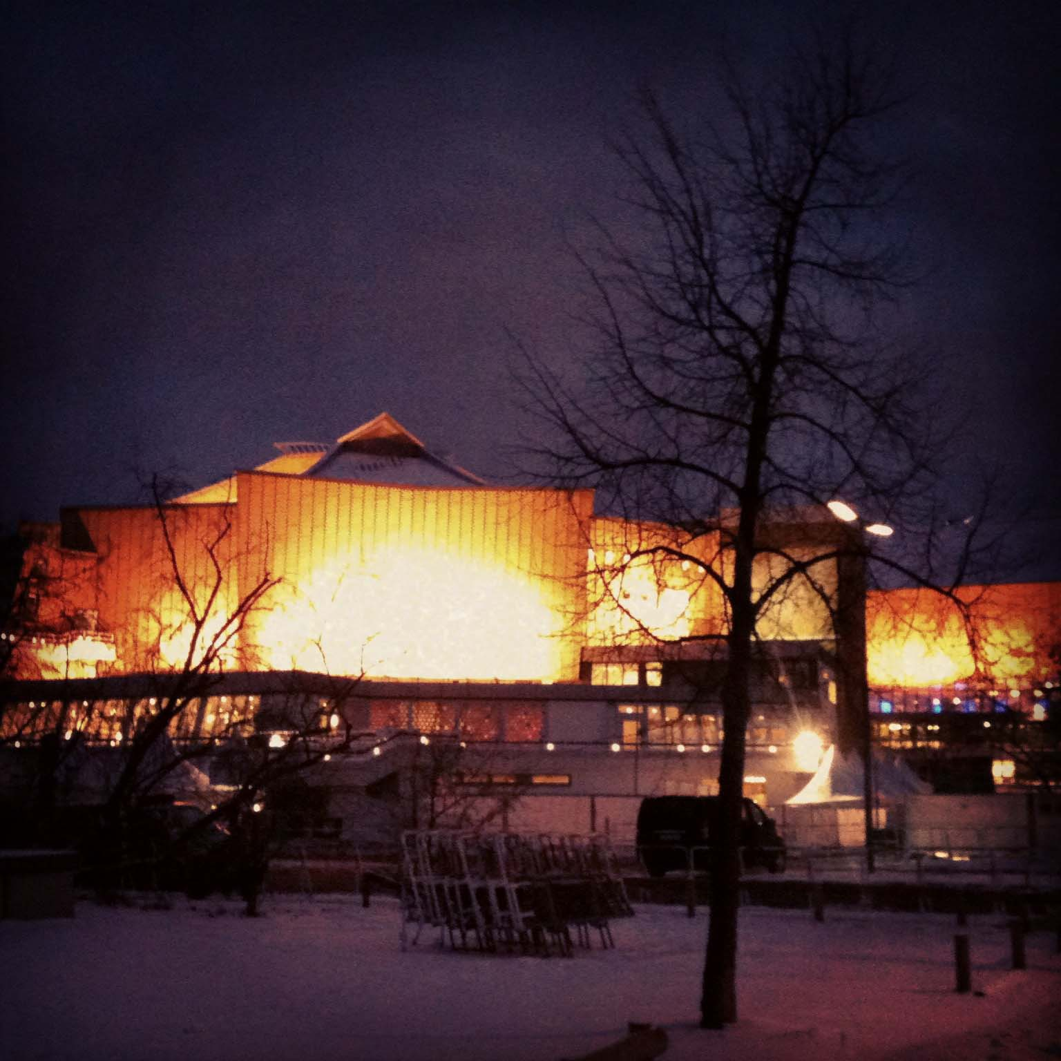 Berliner Philharmonie - The Berlin Philharmonic Hall at dusk on a snowy cold day