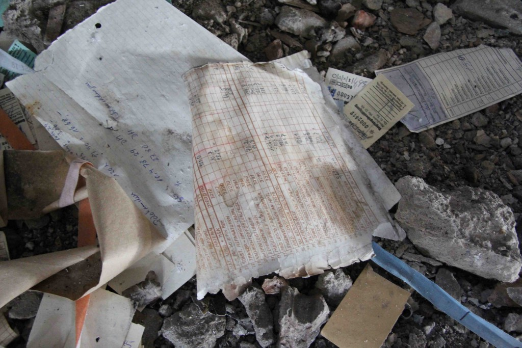 Paperwork at Rewatex Berlin - an abandoned industrial laundry and dyeing factory