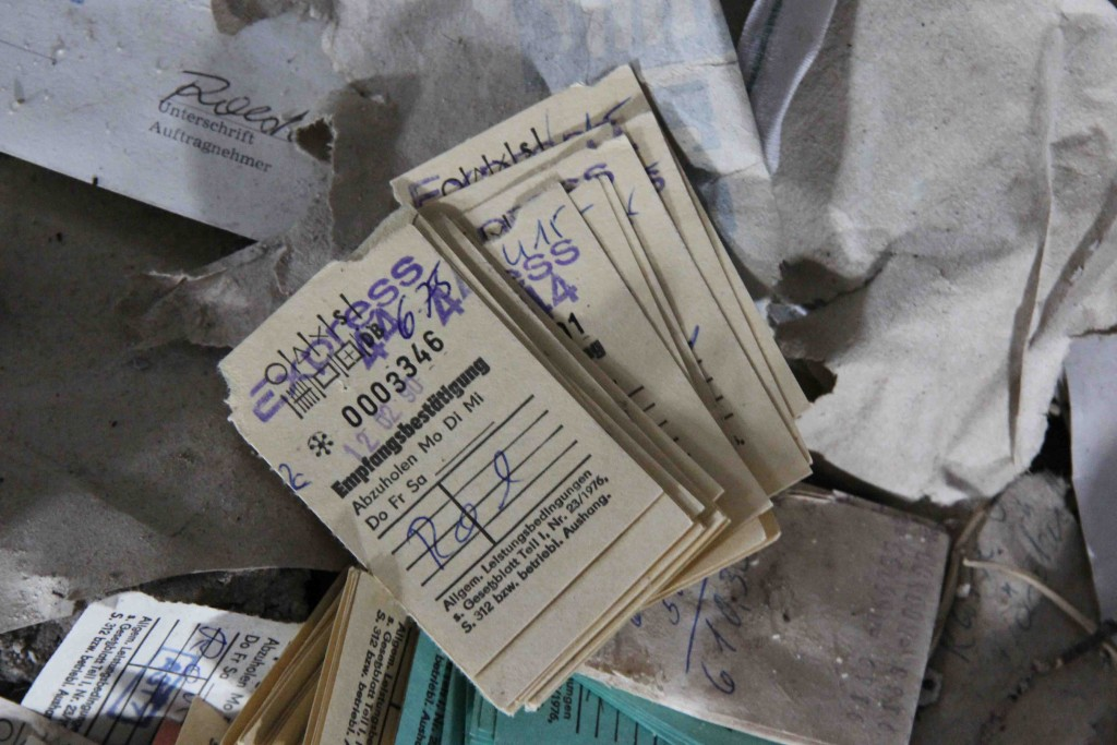 Receipts at Rewatex Berlin - an abandoned industrial laundry and dyeing factory