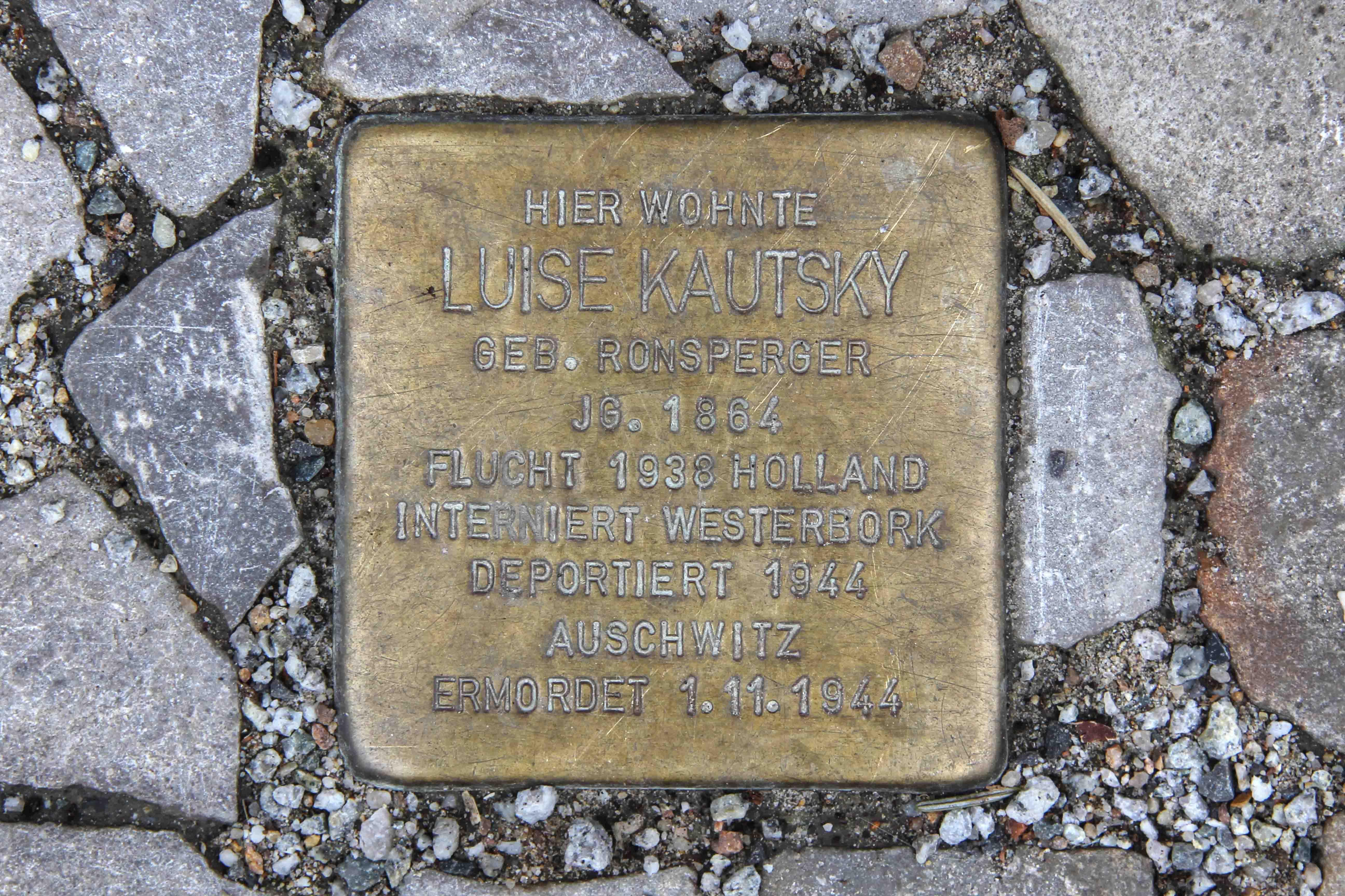 Stolpersteine Berlin 191: In memory of Luise Kautsky (Windscheidstrasse 31)