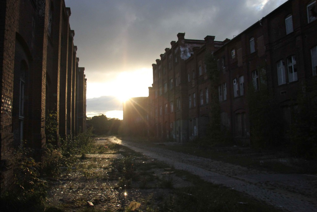 Sunset at Rewatex Berlin - an abandoned industrial laundry and dyeing factory