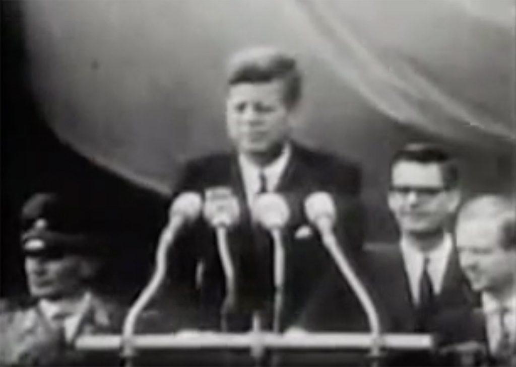President John F Kennedy on the steps of Rathaus Schöneberg in Berlin delivering his 'Ich bin ein Berliner' speech