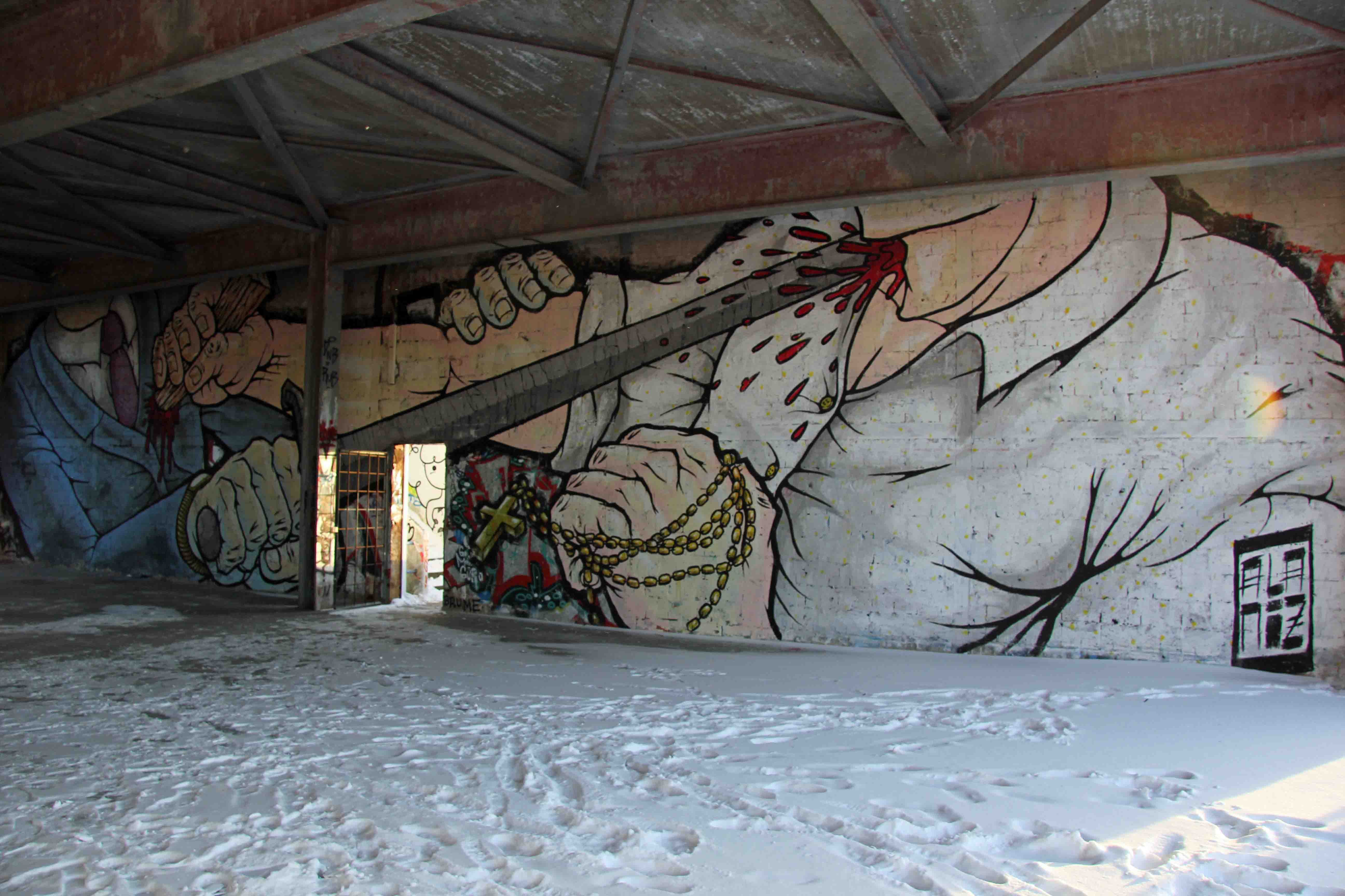 Fight To The Death - Street Art by ALANIZ (painted for Artbase 2012) at the former NSA Listening Station at Teufelsberg Berlin