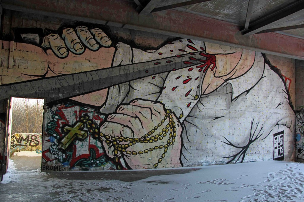 Detail from Fight To The Death - Street Art by ALANIZ (painted for Artbase 2012) at the former NSA Listening Station at Teufelsberg Berlin