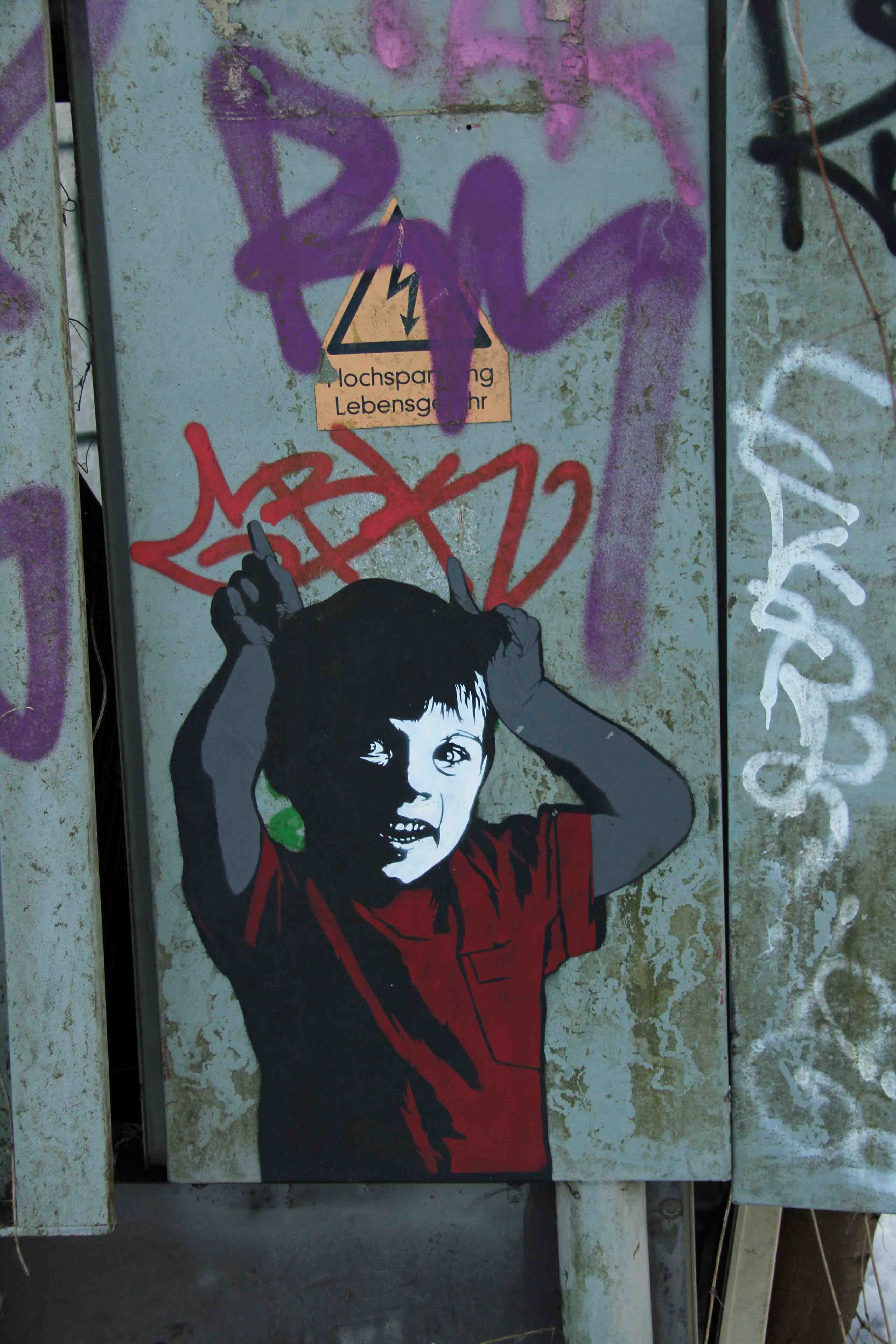 Cheeky Boy - Street Art by ALIAS (painted for Artbase 2012) at the former NSA Listening Station at Teufelsberg Berlin