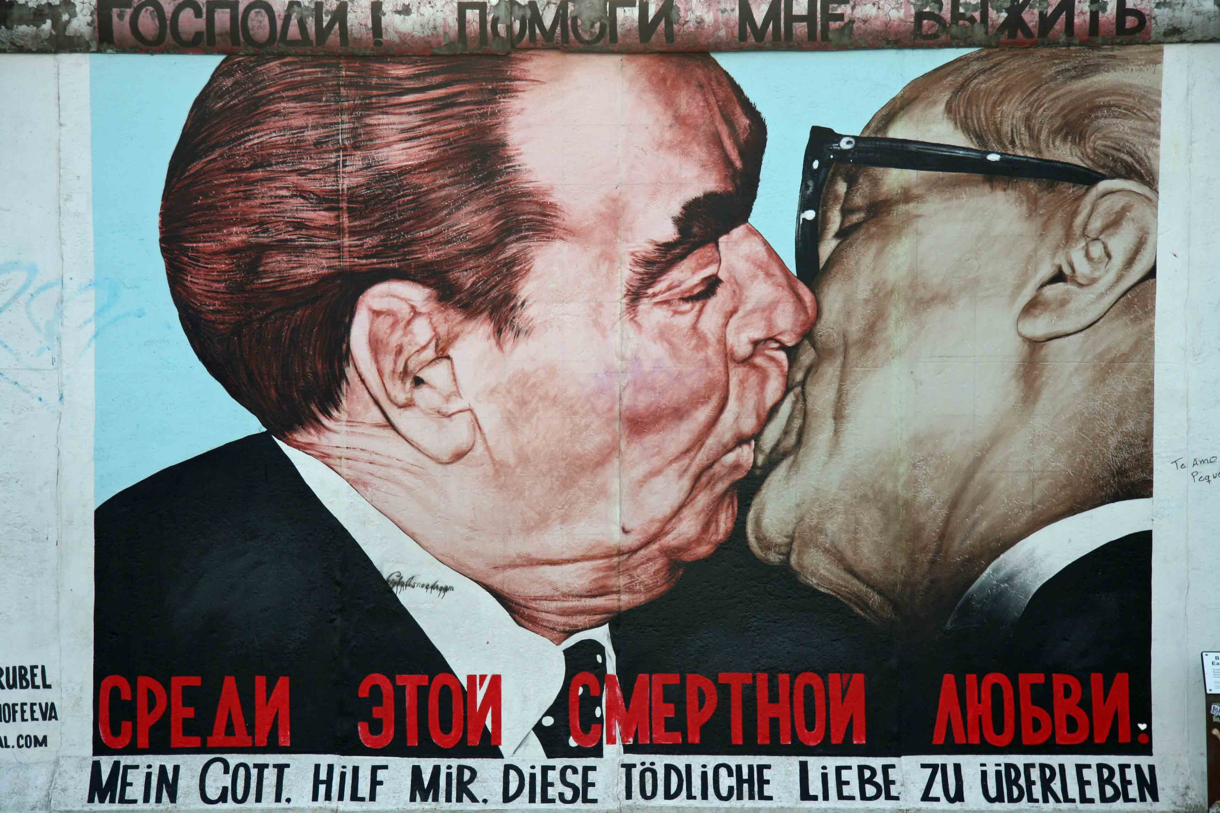 Dmitri Vrubel - Fraternal Kiss (Brezhnev and Honecker embrace) - one of the paintings on the Berlin Wall at the East Side Gallery