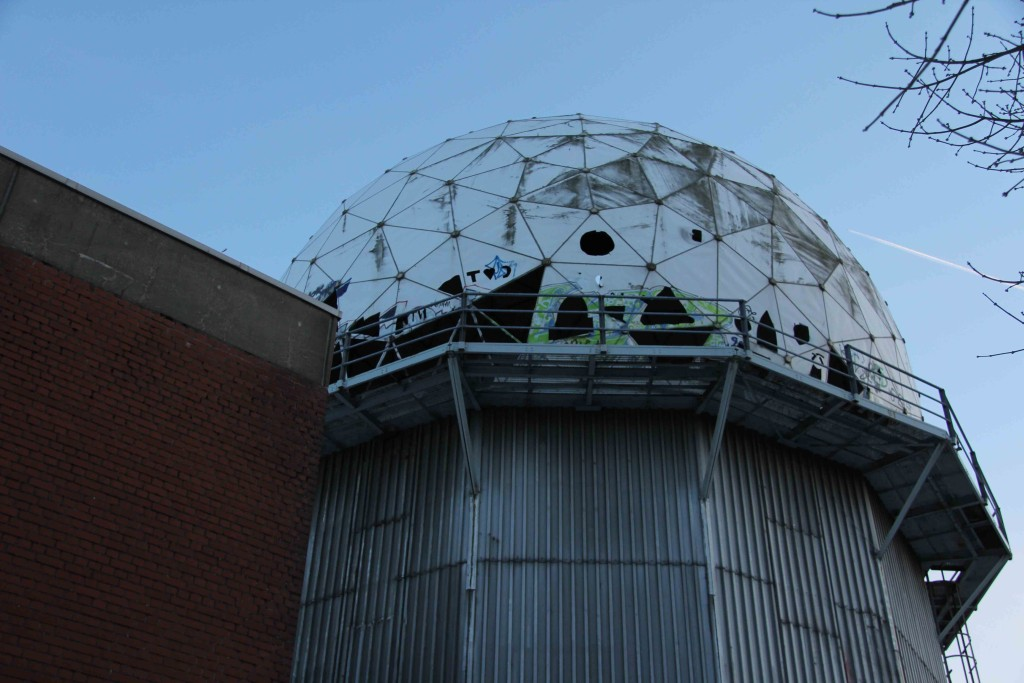An outbuilding and dome at the former NSA Listening Station at Teufelsberg in Berlin
