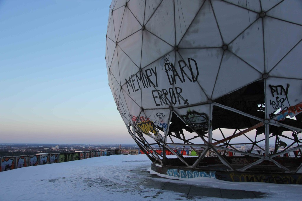 A dome on the roof and the view from the former NSA Listening Station at Teufelsberg in Berlin