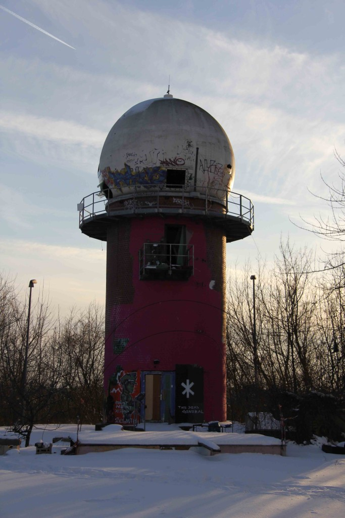 A dome tower at sunset at the former NSA Listening Station at Teufelsberg in Berlin
